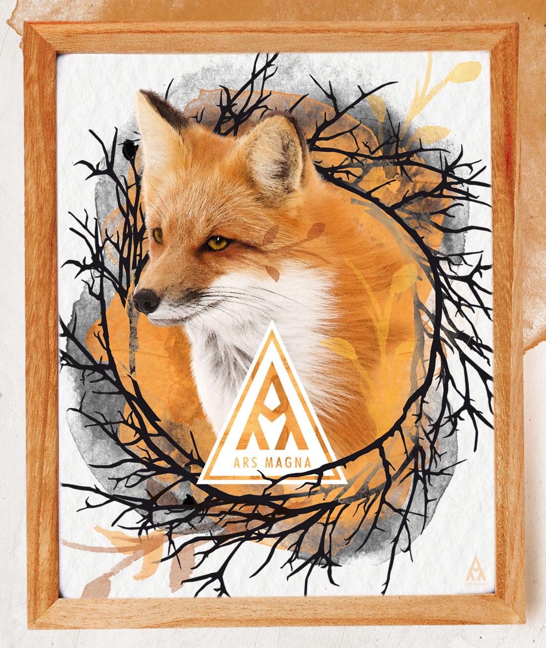 Ars Magna Design Watercolor Kunstdruck Motiv Fuchs Twig'N'Foxy